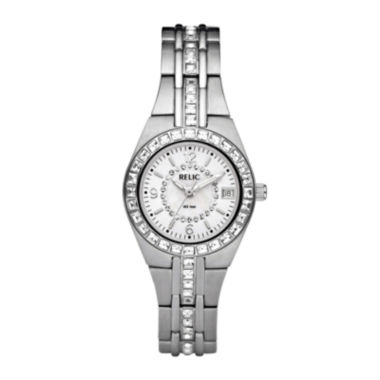 jcpenney.com | Relic® Womens Crystal-Accent Mother-of-Pearl Dial Watch ZR11788