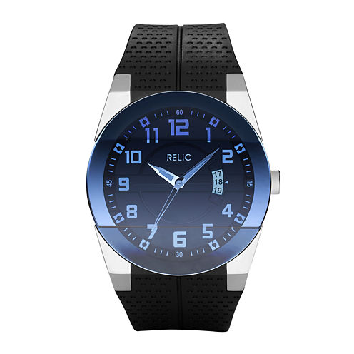 Relic® Mens Blue Dial Black Strap Watch ZR11861