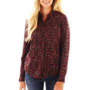 Liz Claiborne Long-Sleeve Button-Front Blouse - Petite