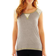 Susan Lawrence Sleeveless Lace-Inset Tee