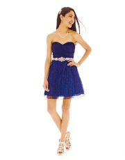 My Michelle® Strapless Embellished Lace Dress