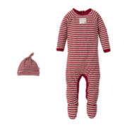 Burt's Bees Baby™ Candy Cane Striped Bodysuit and Hat Set – newborn-24m