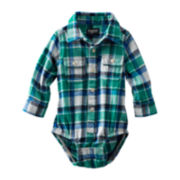 OshKosh B'gosh® Long-Sleeve Flannel Button-Front Bodysuit – Boys 3m-24m