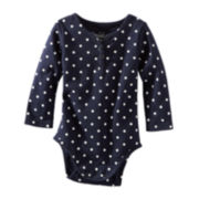 OshKosh B'gosh® Long-Sleeve Polka Dot Henley Bodysuit – Girls 3m-24m