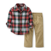 Carter's® 2-pc. Flannel Shirt and Canvas Pants Set – Boys newborn-24m