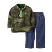 Carter's® 2-pc. 3/4-Zip Camo Sweatshirt and Denim Pants Set – Boys newborn-24m
