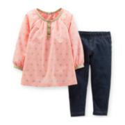 Carter's® 2-pc. Long-Sleeve Tunic and Denim Leggings Set – Girls newborn-24m