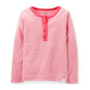 Carter's® Long-Sleeve Striped Henley – Girls 6m-24m