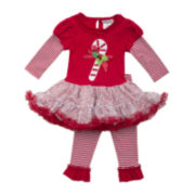 Rare Editions 2-pc. Long-Sleeve Candy-Cane Top and Leggings Set - Girls 2t-4t