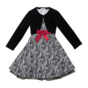 Rare Editions Sleeveless Zebra Print Dress with Velvet Cardigan - Girls 2t-6x