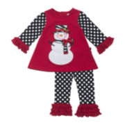 Rare Editions 2-pc. Long-Sleeve Snowman Top and Leggings Set - Girls 2t-4t