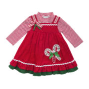 Rare Editions 2-pc.Top and Corduroy Candy Cane Jumper Set - Girls 2t-4t