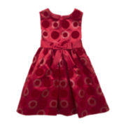 Rare Editions Sleeveless Satin Polka Dot Dress - Girls 2t-6