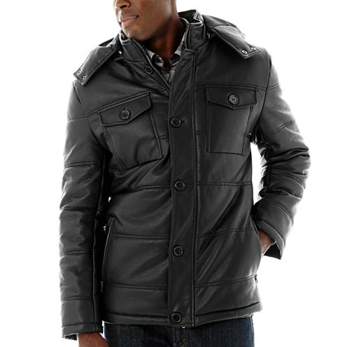 Excelled® Channel Quilt Faux-Leather Jacket