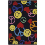 Smiley Peace Signs Rectangular Rug