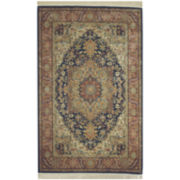 Karastan® Navy Heriz Wool Rectangular Rug