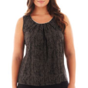 Worthington® Sleeveless Metal-Trim Pleated Top - Plus