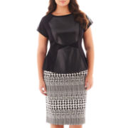 Worthington® Colorblock Peplum Top or Houndstooth Print Pencil Skirt - Plus
