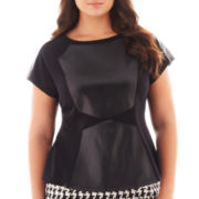 Worthington® Short-Sleeve Faux Leather-Colorblock Peplum Top - Plus