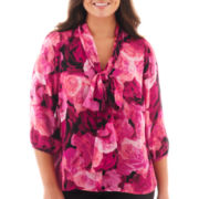 Worthington® 3/4-Sleeve Tie-Neck Blouse - Plus