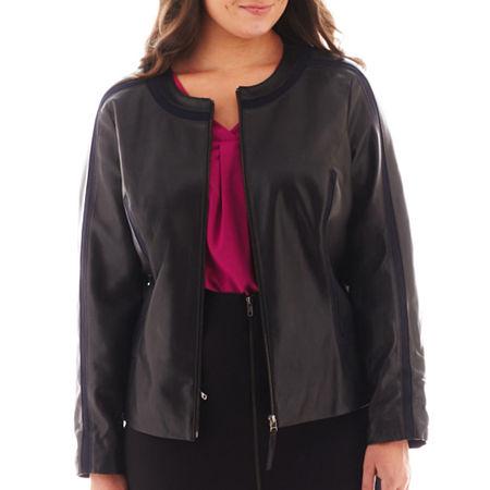 Worthington Faux Leather-Trim Jacket - Plus