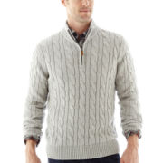 St. John's Bay® Cable-Knit Quarter-Zip Sweater
