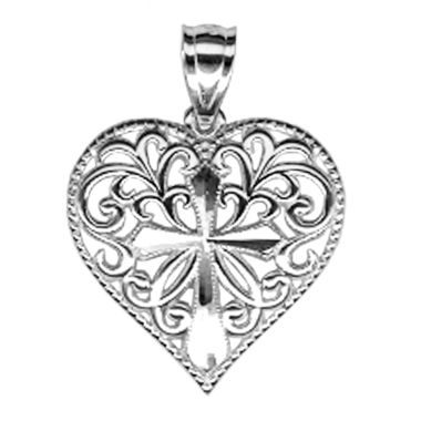 jcpenney.com | Sterling Silver Heart with Cross Charm Pendant