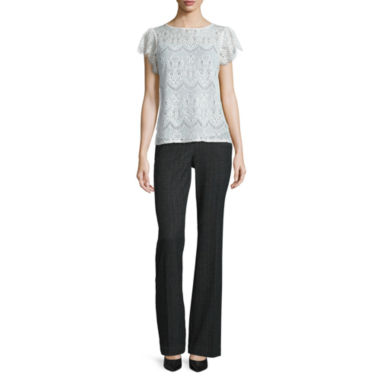 jcpenney.com | Worthington® Short Flutter-Sleeve Lace Top or Curvy Fit Pants