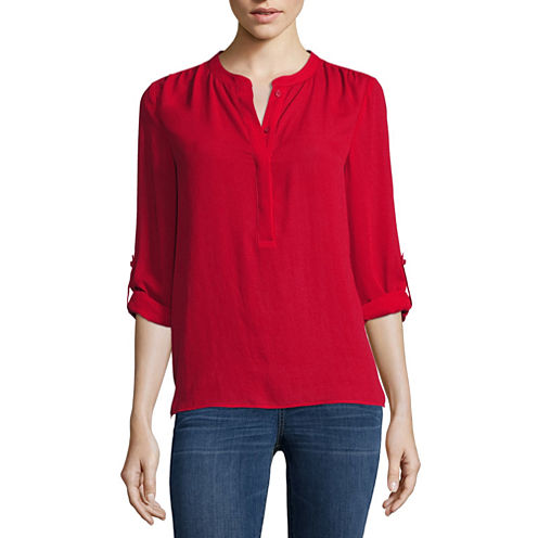 a.n.a® Long-Sleeve Shirred-Shoulder Tab-Up Popover Top - Petite