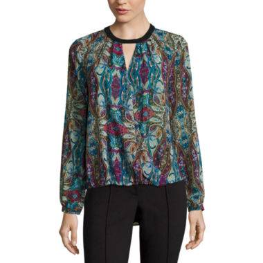 jcpenney.com | nicole by Nicole Miller® Long-Sleeve Keyhole Top