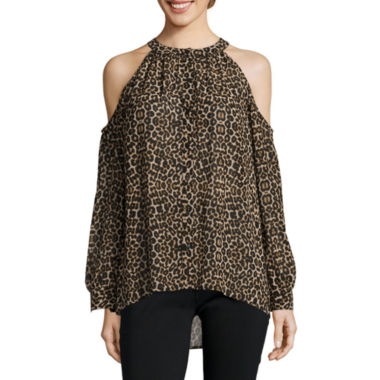 jcpenney.com | nicole by Nicole Miller® Long-Sleeve Cold-Shoulder Button-Front Top