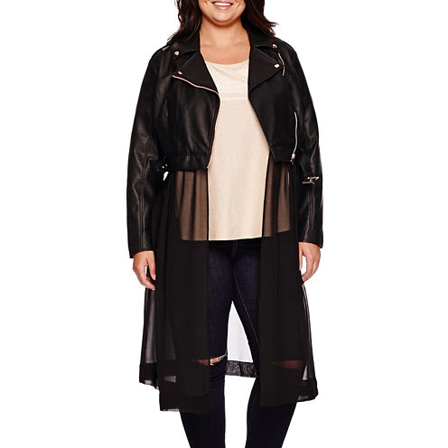 Ashley Nell Tipton for Boutique+ Moto Jacket with Chiffon - Plus
