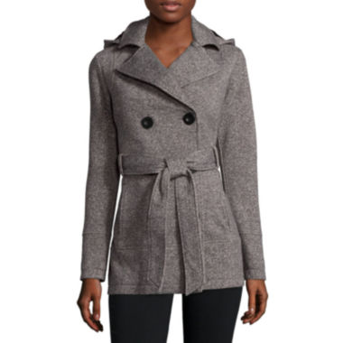 Liz Claiborne® Belted Fleece Trench Pea Coat - JCPenney