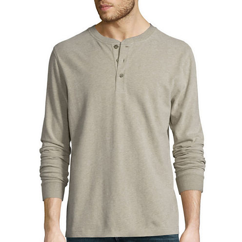St. John's Bay® Long-Sleeve Sueded Jersey Henley Shirt