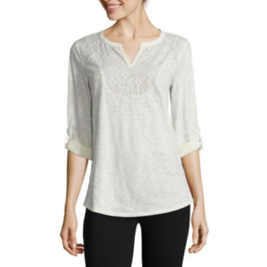 jcpenney.com | St. John's Bay® 3/4-Sleeve Lace-Front Tee
