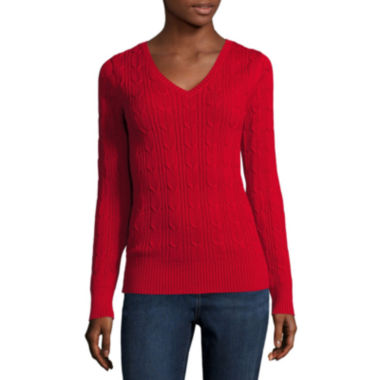 jcpenney.com | St. John's Bay® Long-Sleeve Cable-Knit Sweater