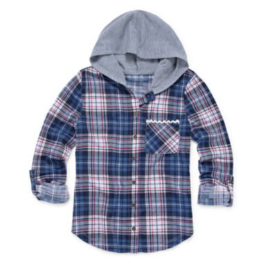 jcpenney.com | Almost Famous 3/4-Sleeve Hooded Plaid Button-Up Top - Girls 7-16