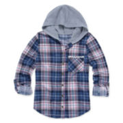 Almost Famous 3/4-Sleeve Hooded Plaid Button-Up Top - Girls 7-16