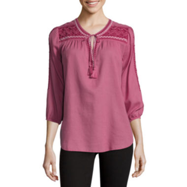 jcpenney.com | St. John's Bay® Embroidered Tie-Front Blouse