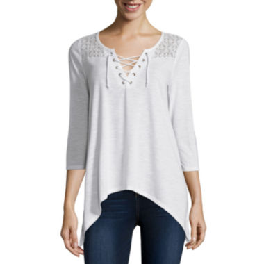 jcpenney.com | Almost Famous Elbow-Sleeve Lace-Up Sharkbite Top - Juniors