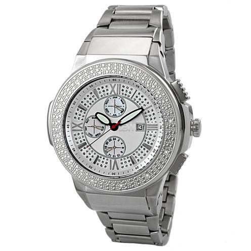 JBW Saxon Mens 1/6 CT. T.W. Diamond Stainless Steel Watch JB-6101-B