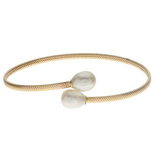 Womens White Pearl 10K Gold Bangle Bracelet
