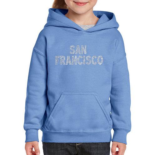 Los Angeles Pop Art San Francisco Neighborhoods Long Sleeve Sweatshirt Girls