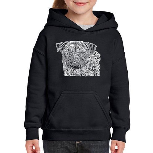 Los Angeles Pop Art Pug Face Long Sleeve Sweatshirt Girls