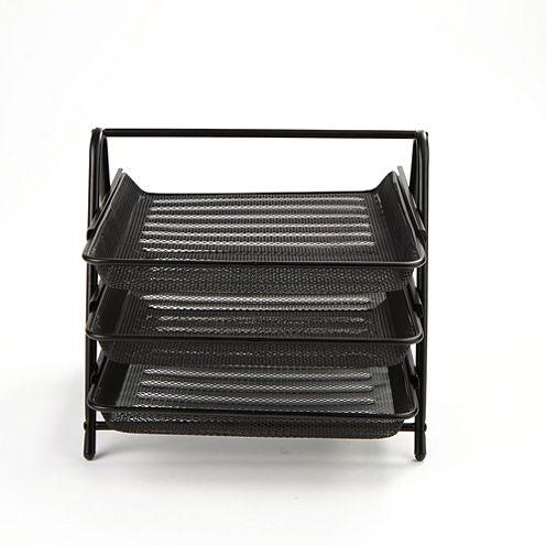 Mind Reader 3 Tier Steel Mesh Paper Tray Desk Organizer