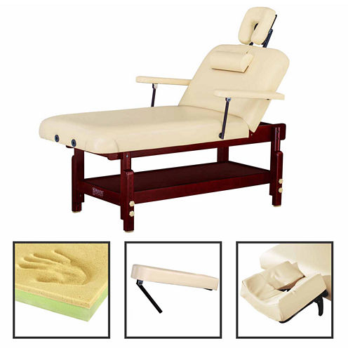 """Master® Massage 31"""" SpaMaster Stationary Massage Table Salon Beauty Bed with Shelf in Cream"""