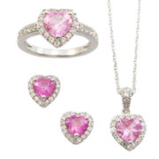 Lab-Created Pink & White Sapphire 3-pc. Heart Jewelry Set