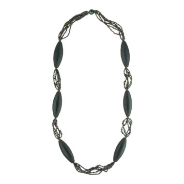 jcpenney.com | Designs by Adina Dark Green Bead Woven Flapper Necklace