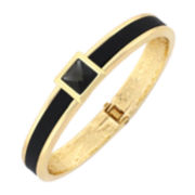 nicole by Nicole Miller® Black Stone Hinged Bangle Bracelet