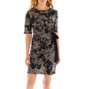 R&K Originals® Elbow-Sleeve Side-Tie Sheath Dress - Petite